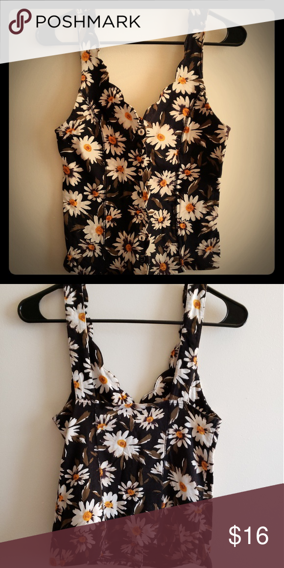 bb18f2d75351 Urban Outfitters   Floral print tank top Sunflower print tank Button down,  scalloped edge Fits like a small Kimchi Blue Tops Tank Tops
