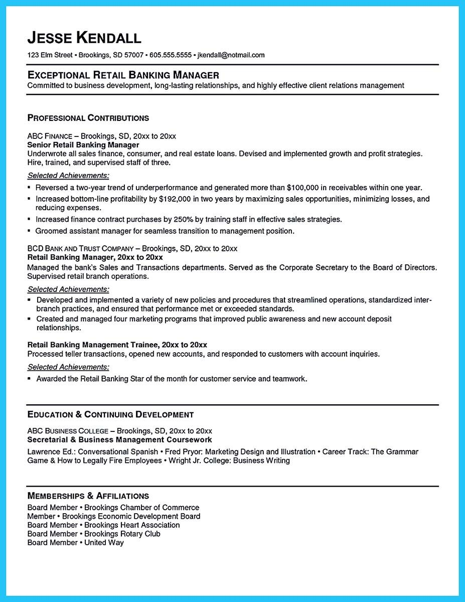 Cool One Of Recommended Banking Resume Examples To Learn  Resume