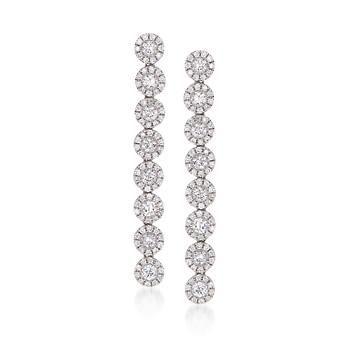 2.01 ct. t.w. Diamond Linear Earrings In 18kt White Gold from Ross Simon.