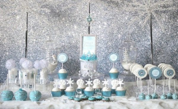Frozen Christmas Party For Kids Table Decoration Ideas Blue White Silver