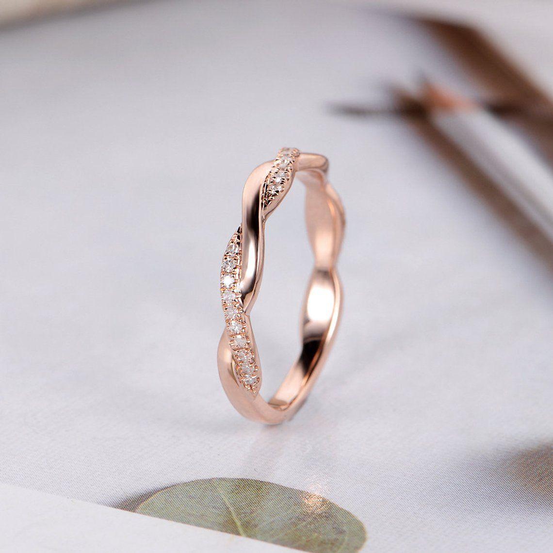 Rose Gold Wedding Band Women Twist Diamond Wedding Ring Infinity Half Eternity Dainty Stacking Bridal Delicate Bridal Antique Ring In 2019 Wedding Rings We