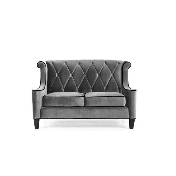Armen Living Barrister Gray Velvet Loveseat ($1,201) ❤ Liked On Polyvore  Featuring Home,