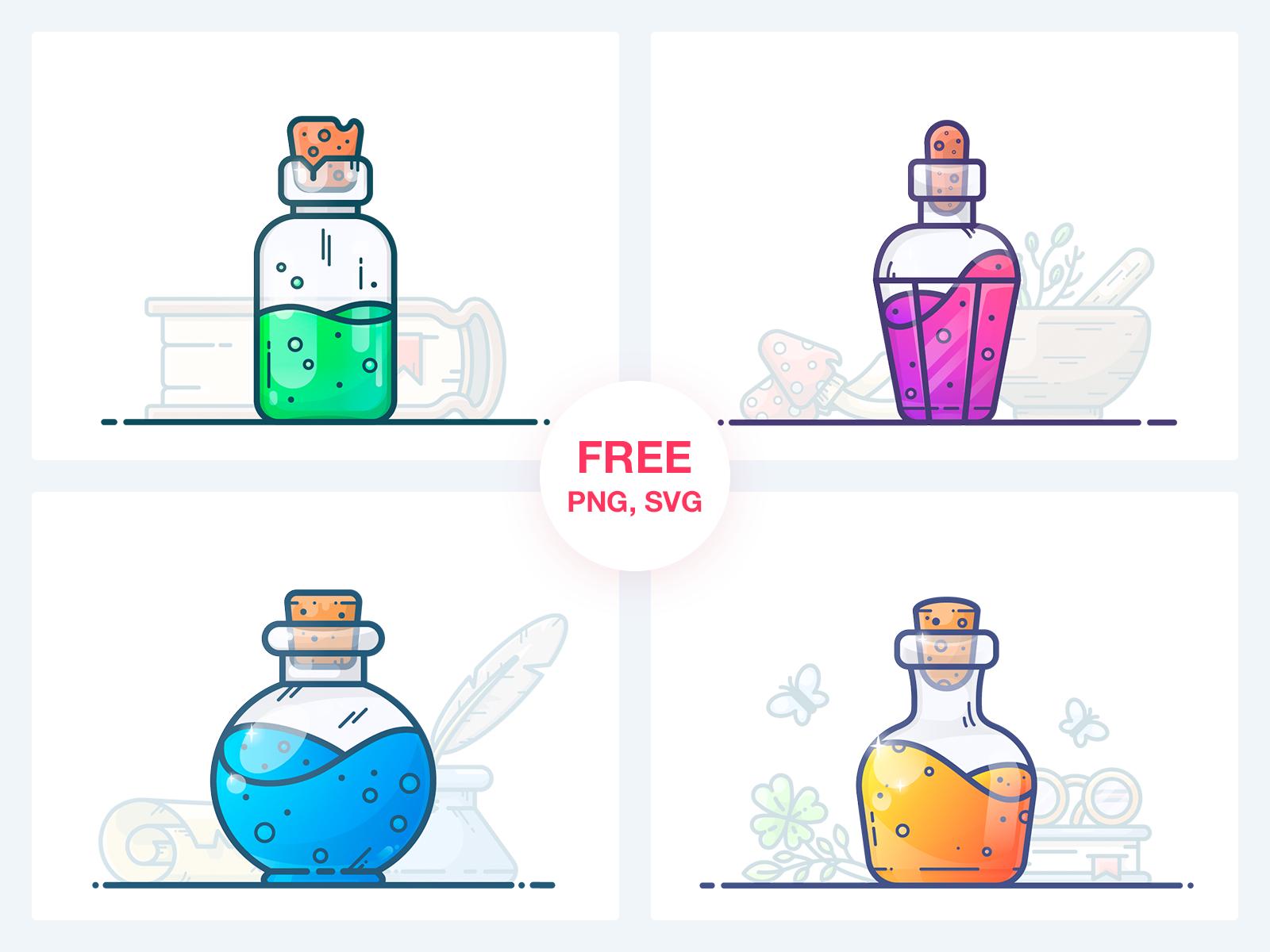 Potions Freebie Vol 1 Bottle Drawing Potions Vector Illustration Tutorial