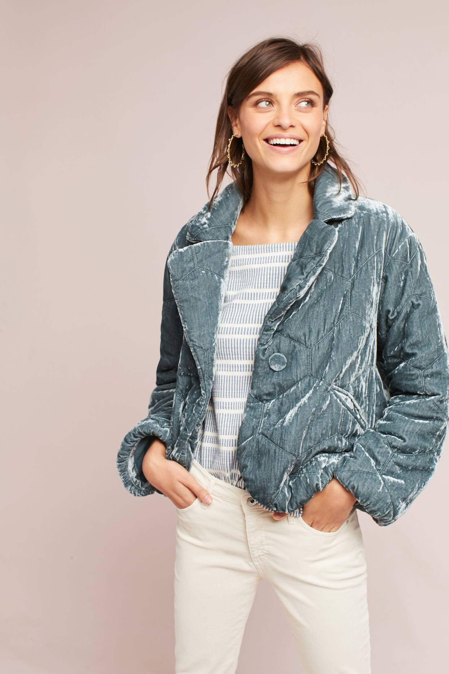 b17e9cf2 Shop the Quilted Velvet Puffer Coat and more Anthropologie at Anthropologie  today. Read customer reviews, discover product details and more.