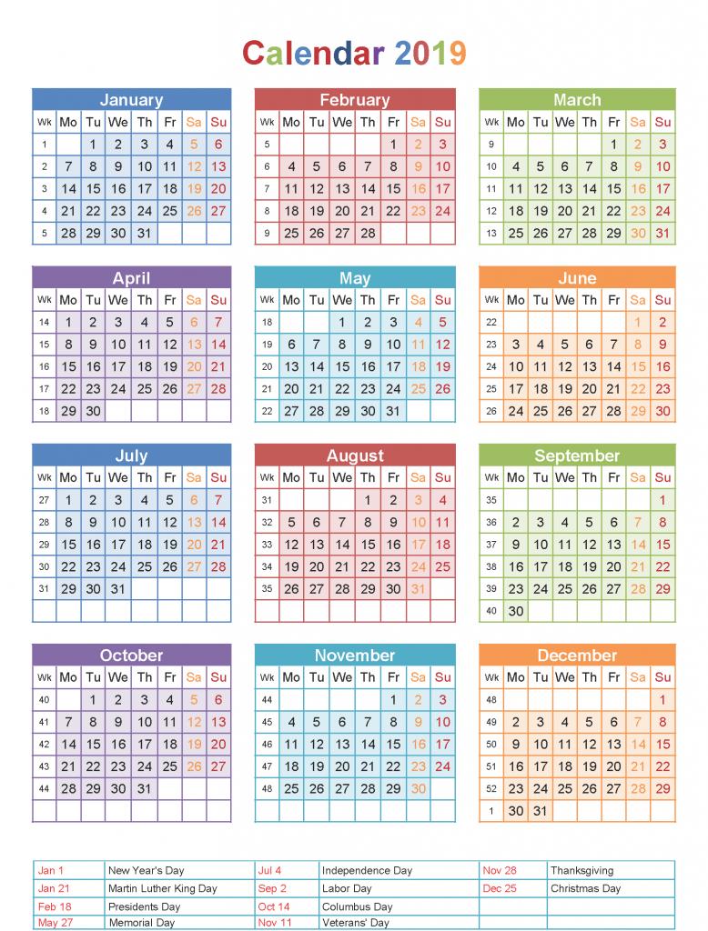 Cute 2019 Calendar with Holidays 2019Calendar
