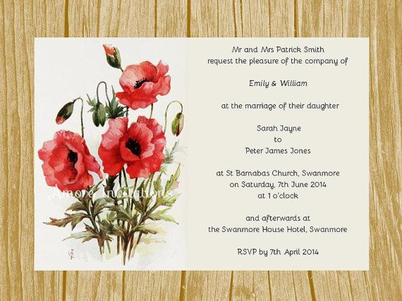 DIY Digital Printable Vintage Red Poppies by AmoreInvitations - microsoft word party invitation template
