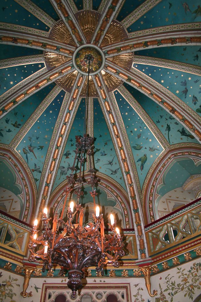 Castell Coch Drawing Room Ceiling is part of Pavilion architecture Ideas Google - The lowest levels of the Keep Tower contain the Drawing Room  This splendid room is an octagonal chamber crowned with an amazing twostoried, ribbed dome embellished with brilliant colors and bright gilded vaulting  Floral designs and a wide variety of birds, as well as an array of mice, lizards, monkeys, foxes, caterpillars, and butterflies, adorn the Drawing Room's walls and ceiling