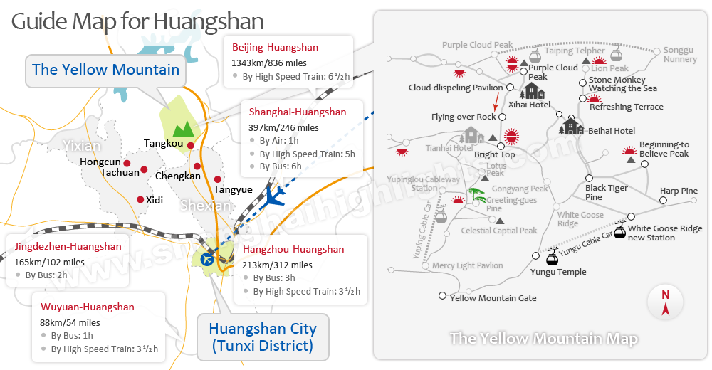 Yellow Mountain Tourist Map China Travel Pinterest Tourist map