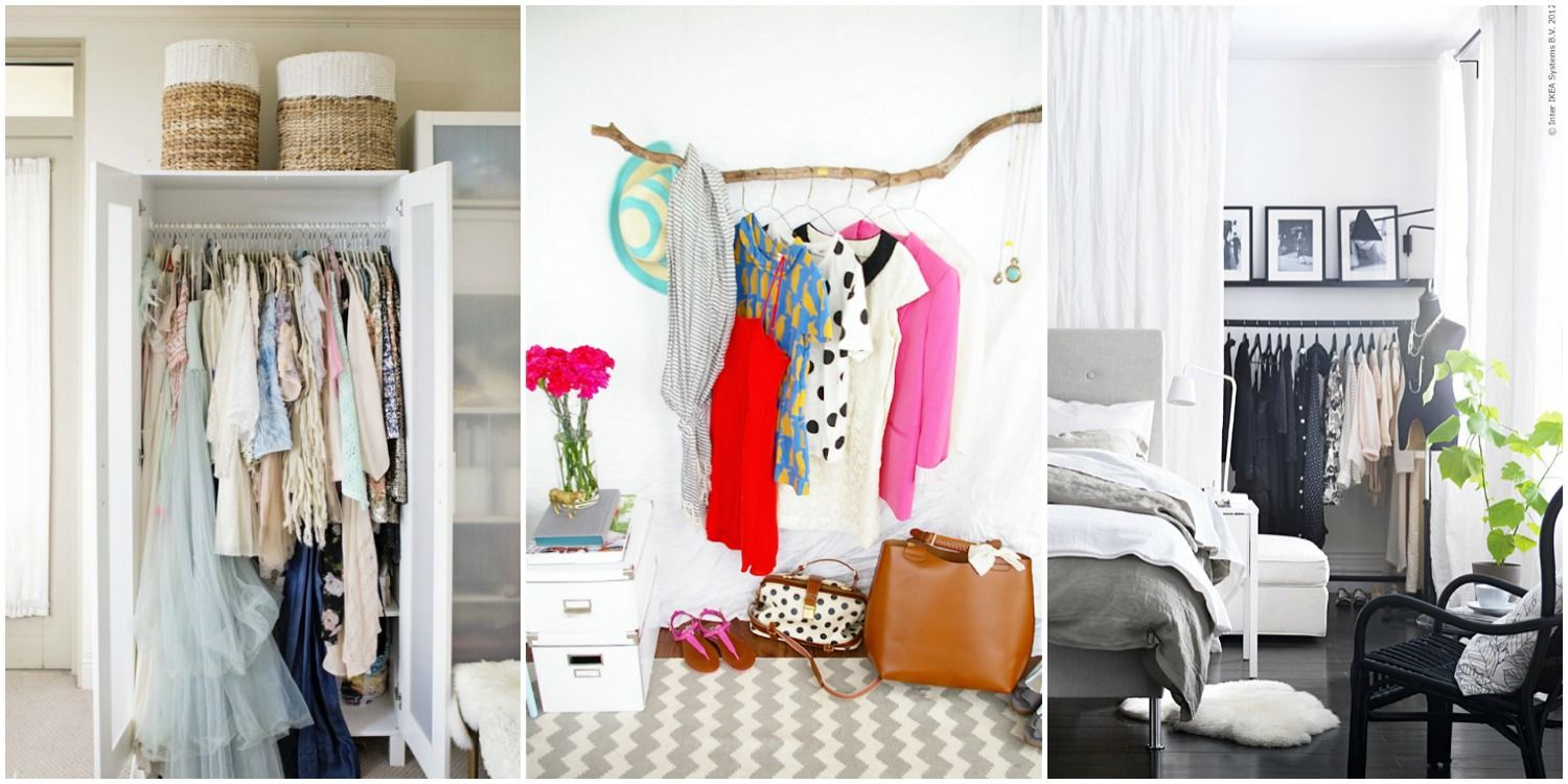 14 Smart Storage Tricks For A Bedroom With No Closets  Clothing Fascinating No Furniture Living Room Review