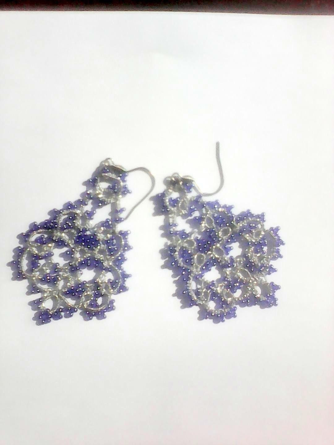 5a3636e9ad Silver and blue tatting lace earrings, bijoux dentelle frivolite ...