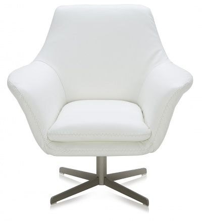 Bruce Swivel Contemporary Arm Chair White Leather Lounge
