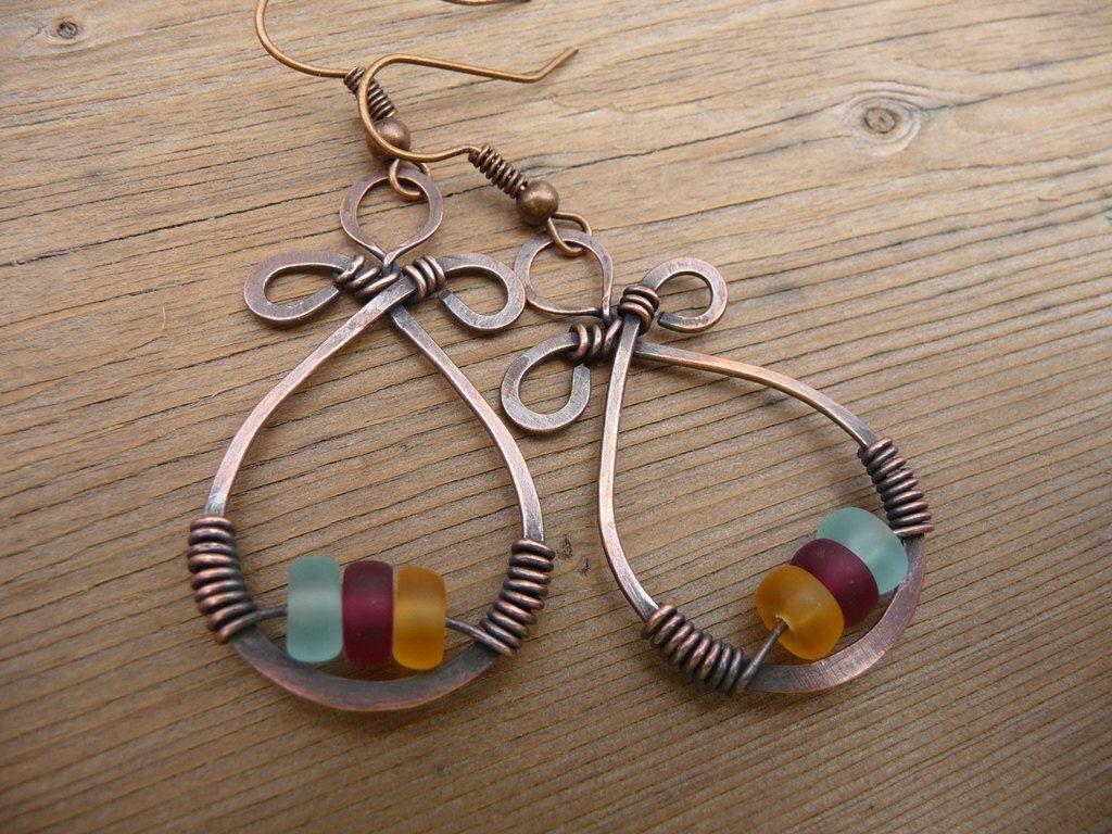 Copper Dangle Earrings, Wire Wrap Jewelry Handmade, Lightweight Earrings,  Womens Gift, One