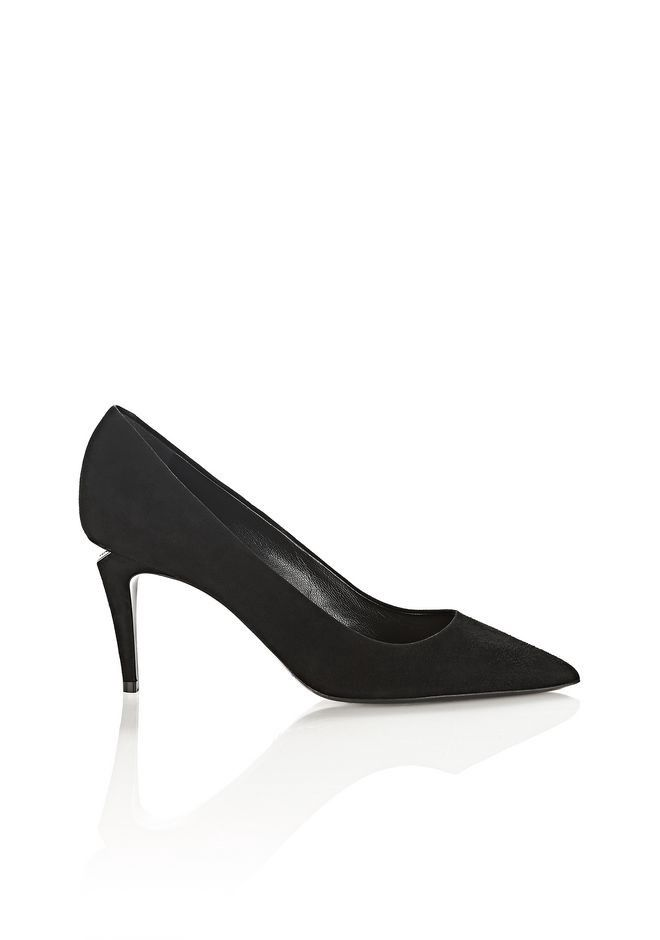 ALEXANDER WANG TRISTA SUEDE MID HEEL PUMP WITH RHODIUM - BLACK. # alexanderwang #shoes