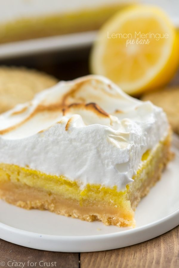 Lemon Meringue Pie Bars with a shortbread crust, lemon filling, and piled high with marshmallow meringue!