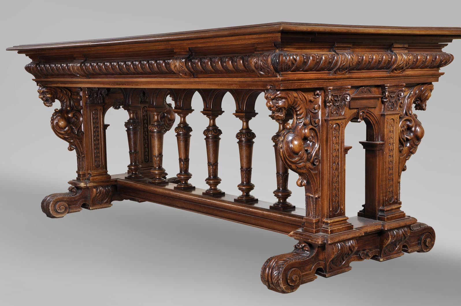 Antique Neo Renaissance Style Dining Room Made Out Of Carved