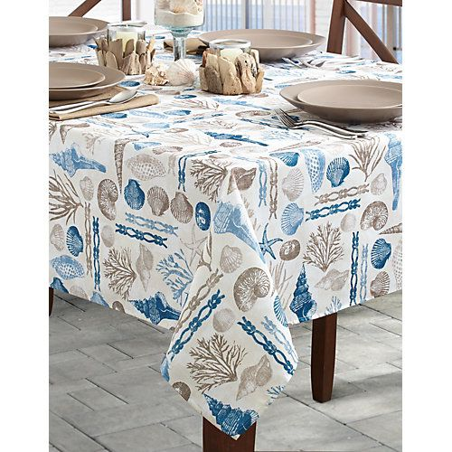 Benson Mills Ocean Treasures Tablecloth Features A Colorful Nautical  Pattern And Adds A Splash Of Coastal