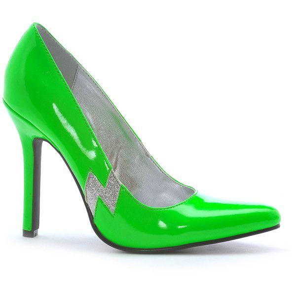Ellie Shoes Lime Glitter Jem Pump ($9.99) ❤ liked on Polyvore featuring shoes, pumps, lime green shoes, lime shoes, slim shoes, synthetic shoes and glitter high heel shoes