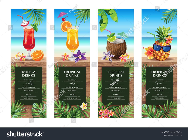Tropical Hawaiian Tail Menu Beach