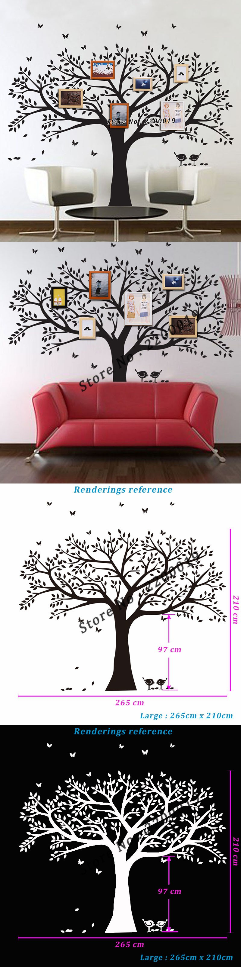 Oversized 265x210cm Family Tree Decal Extra Large Wall ...
