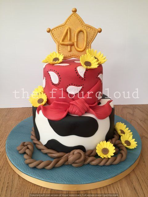 Gorgeous western cowboy themed 40th birthday cake Cupcake cakes