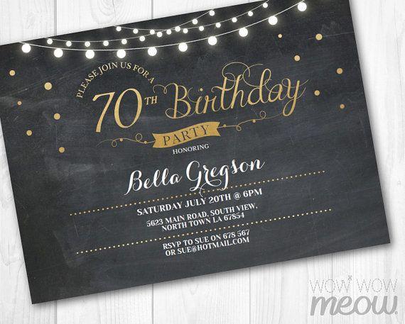 70th birthday invitation elegant party seventy invitation chalk 70th birthday invitation elegant party seventy by wowwowmeow filmwisefo Gallery