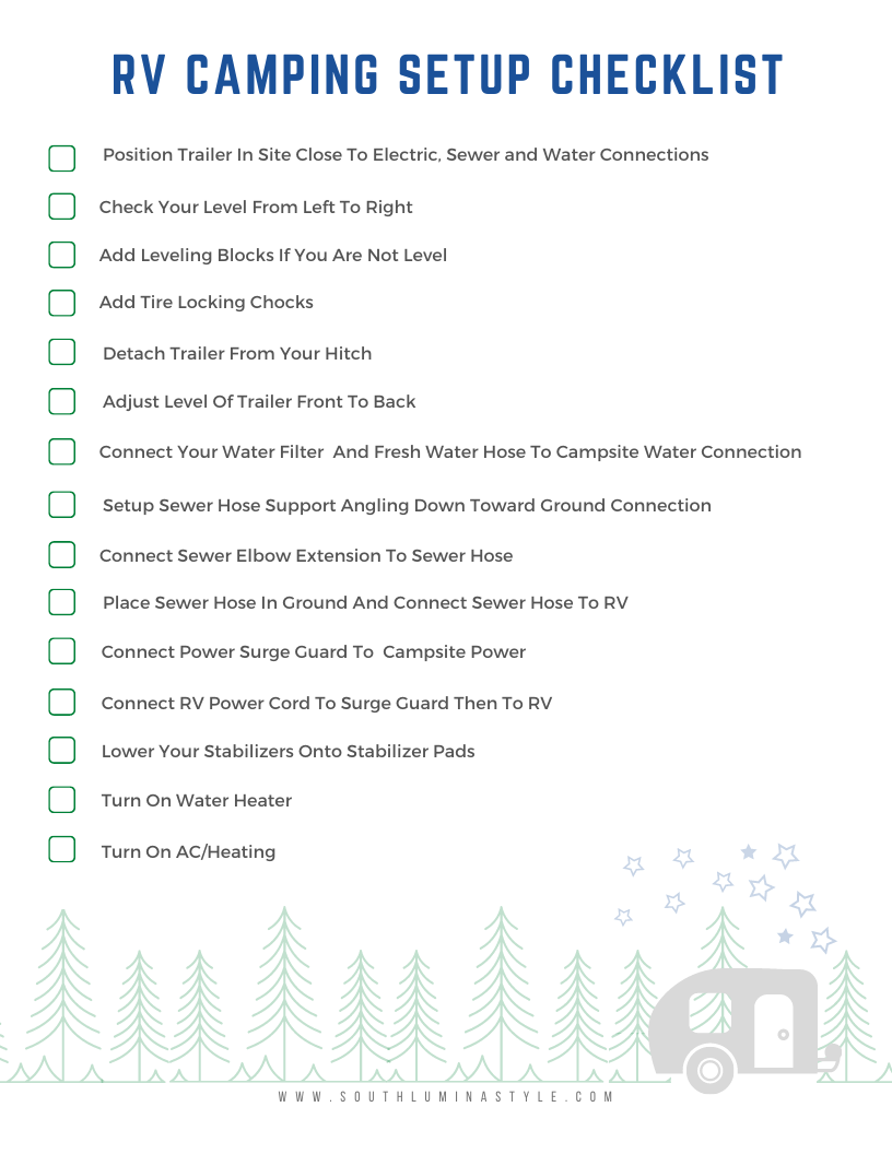 Rv Camping Setup Checklist Step By Step Instructions On How To Set Up Your Rv At A Campground Site Rv Camping Checklist Checklist Rv Camping
