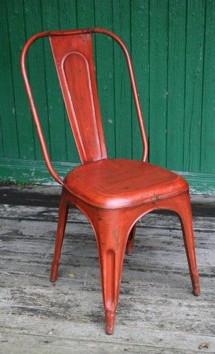 Industrial French Cafe Chair   Distressed Orange   Vintage Tolix Style |  EBay