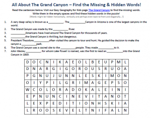 Download our FREE Grand Canyon Worksheet for Kids! | Grand Canyon ...