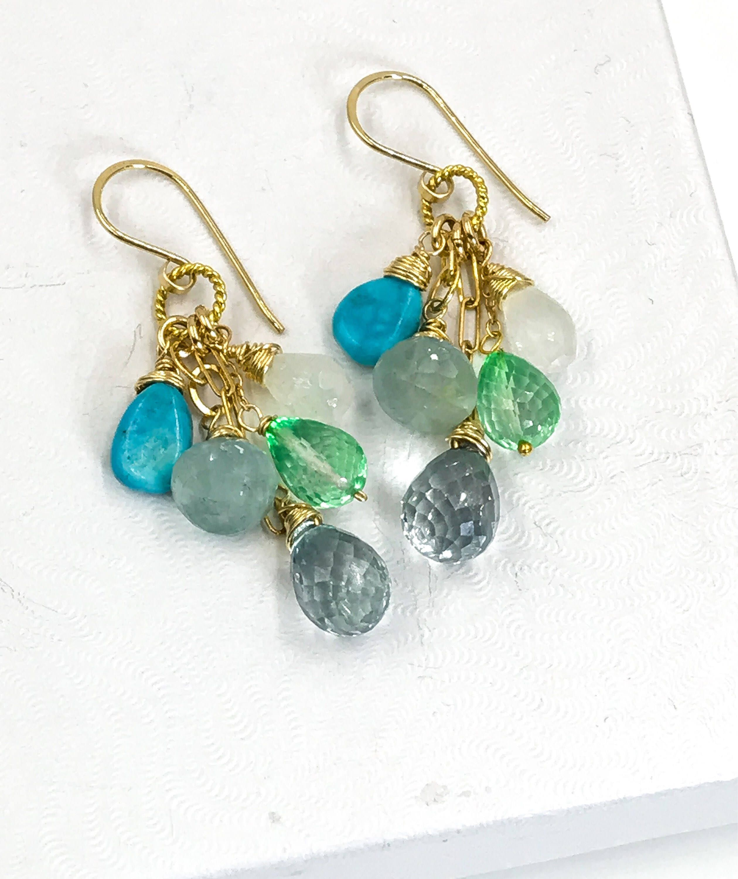 earrings multicolor gold white gemstone drop