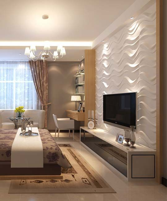 Wood Panel Wall Behind Tv: 3D Wall Panel - GAPLESS WAVE