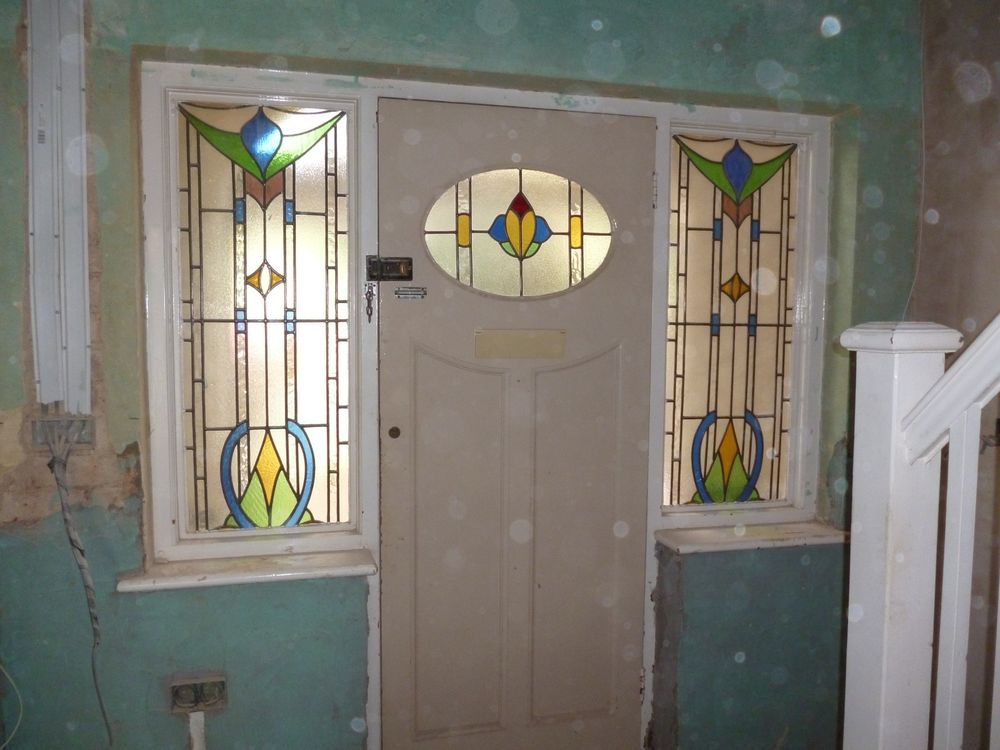 1930s Front Door And Side Panels With Stained Leaded Glass Leaded Glass Front Door Panel Siding