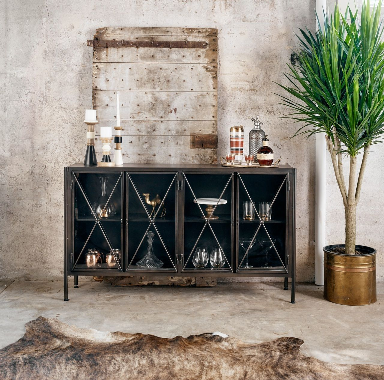 Aged Black Metal Media Console Sideboard With Gl Doors Zin Home