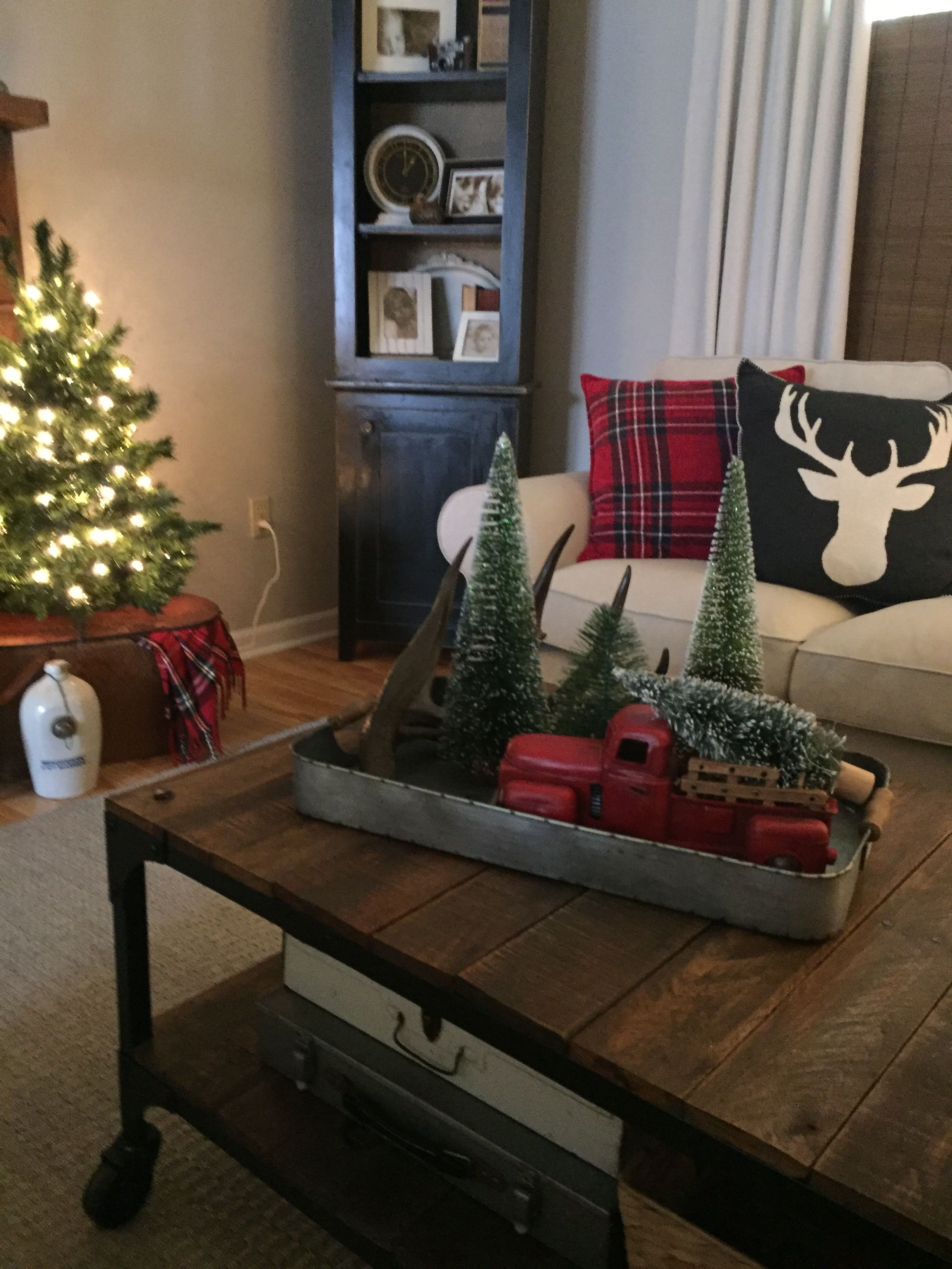 Coffee Table Christmas Decorating Red Truck | Christmas ...