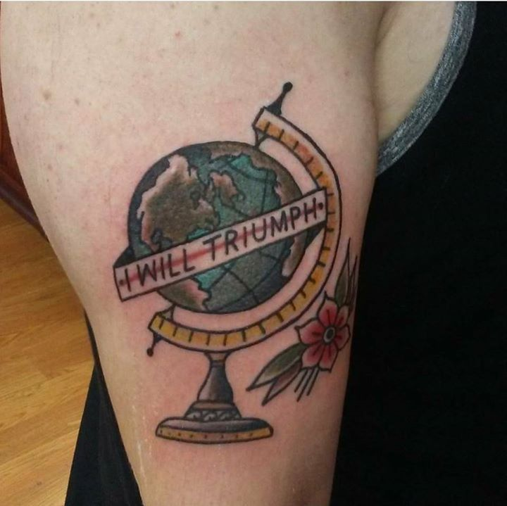 Globe tattoo by kev from the painted lady tattoo