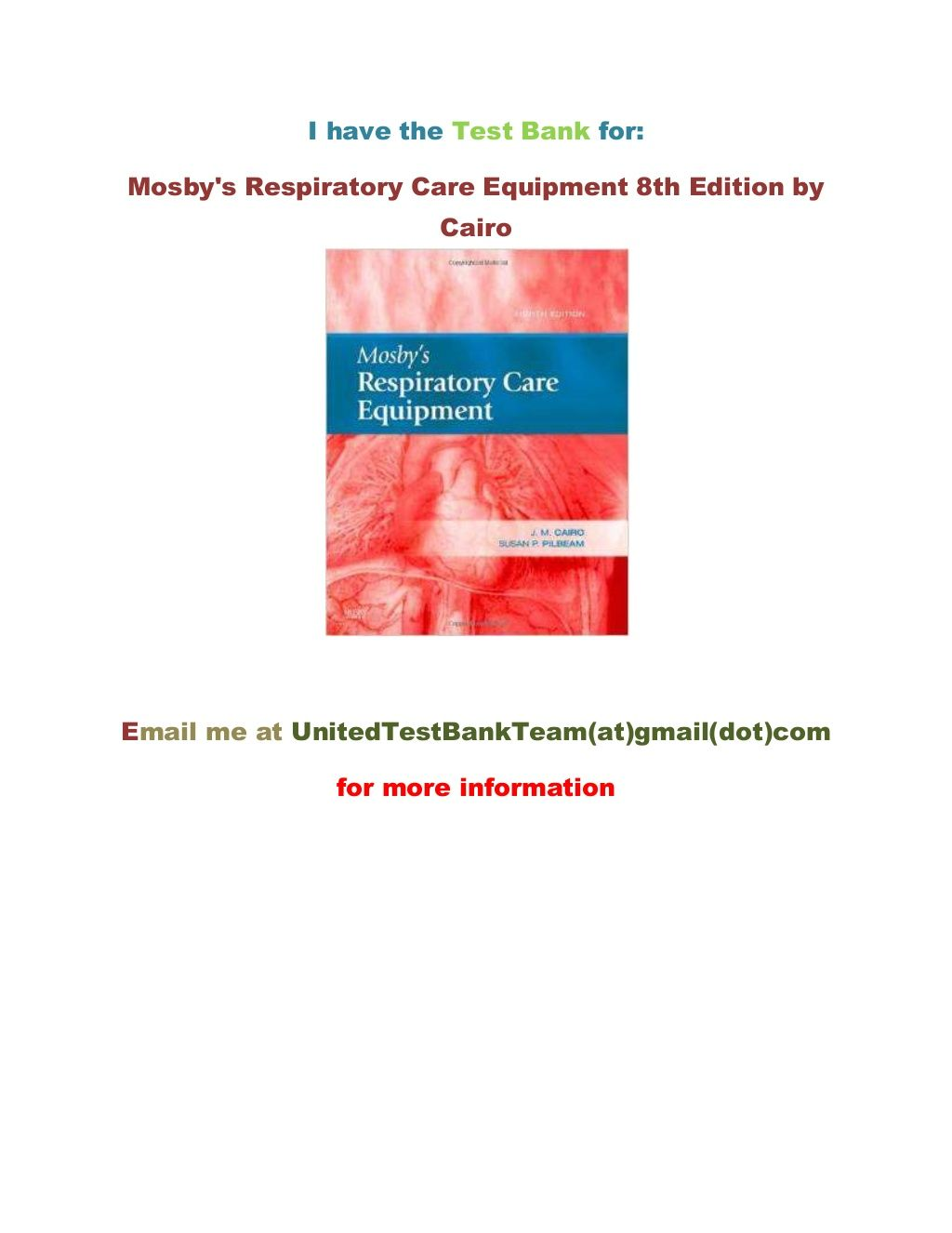 Test Bank for Mosby\'s Respiratory Care Equipment 8th Edition by ...