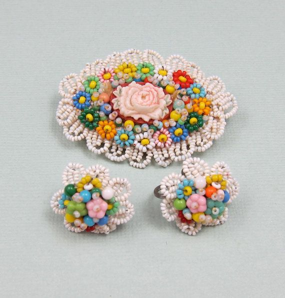 Beaded Brooch and Earring  Set Seed Beads by Violasvintages, $79.00
