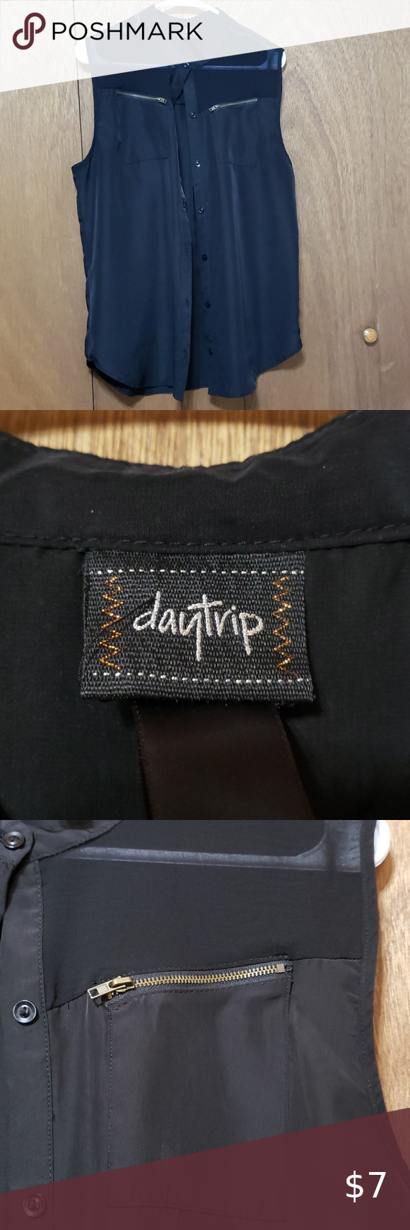 Daytrip Satin button blouse Black satin with mesh at front shoulders. Zippers do open to a pocket although not really sure why. There is a spot I noticed when taking pictures but hardly visible. If you look at the last picture under the pocket. Daytrip Tops Button Down Shirts