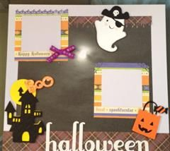 This is a simple layout using the sneak peak images from Create a Critter 2.  I used a 12X12 lavendar cardstock layered with DCWV patterned paper trimmed to 10X10 (Halloween and Fall stack).  All solid paper is from craft stock and patterned paper from DCWV Halloween and Fall stack.  I cut the images of Ghost and Candy bag (basic