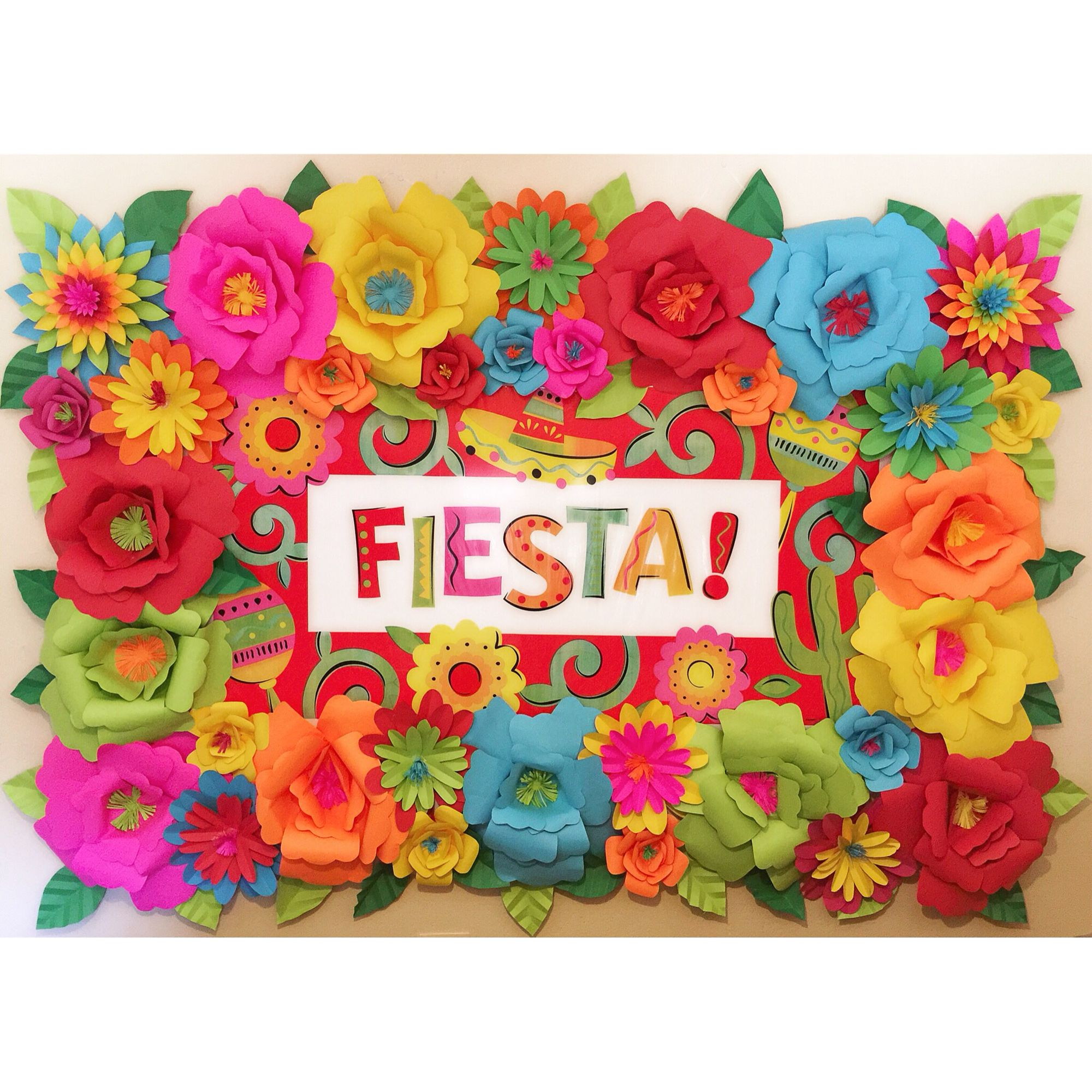 Mexican Fiesta Theme Paper Flower Backdrop | Mexican ...