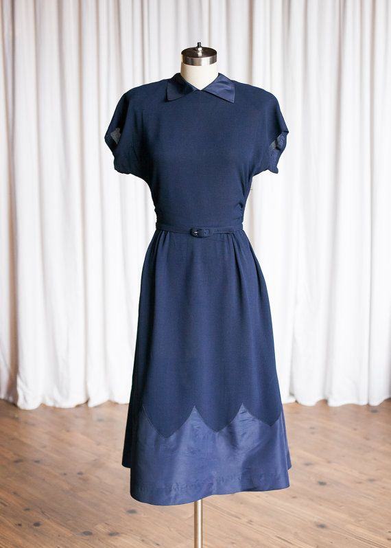 3c99b4f63c RESERVED Grand Prix dress | vintage 30s dress | 40s navy rayon crepe dress  taffeta hem | 1930s / 1940s navy blue dress | vintage 40s dress