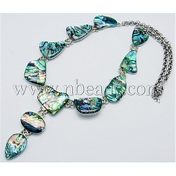 "[US $49.94]Green Shell Necklaces(NJEW-G011-2) - Handmade Shell Necklaces, Abalone/Paua Shell, Green, Size: About 18"" Long"