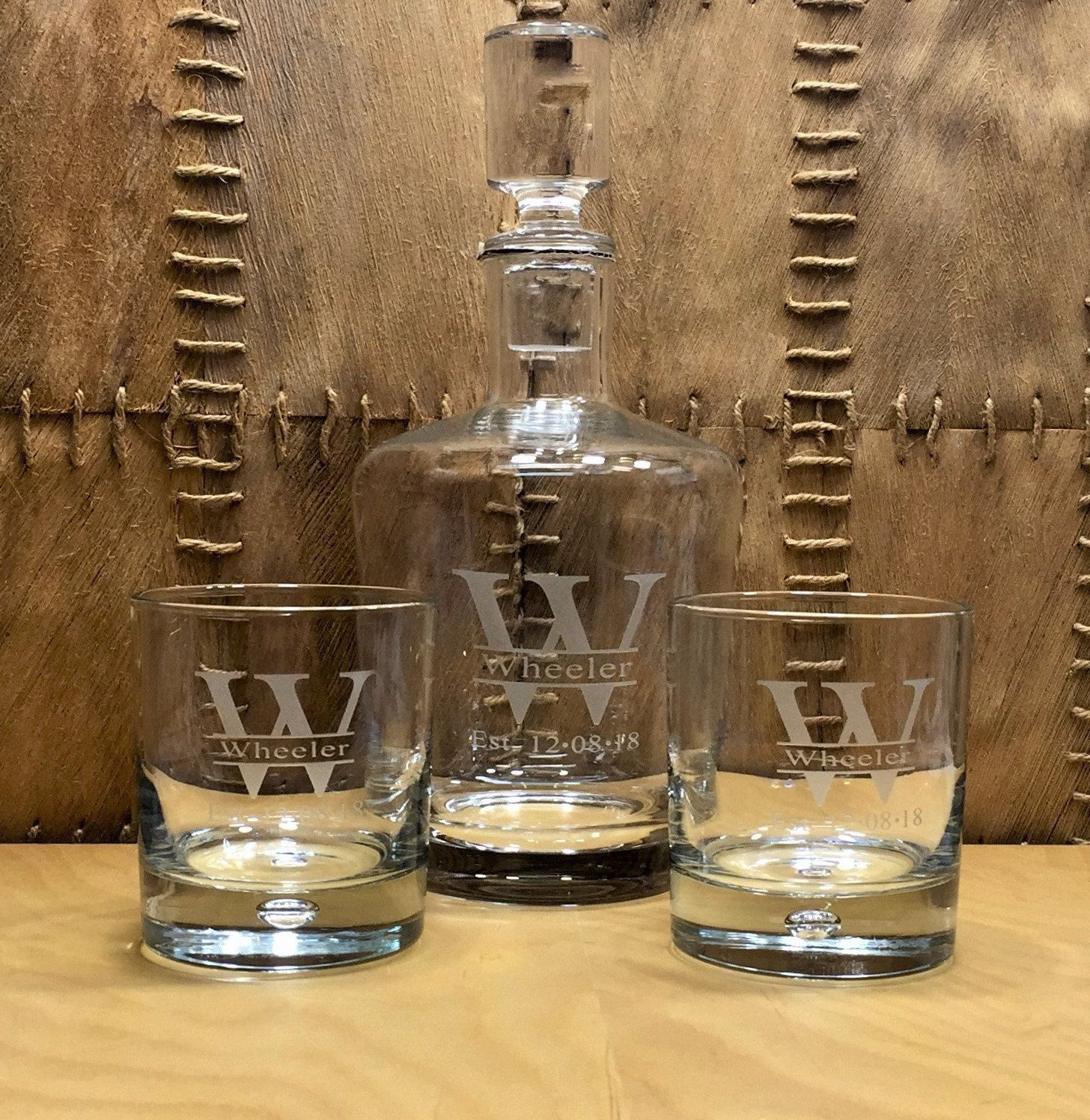 Personalized Whiskey Decanter Set, Hand-Etched Monogram