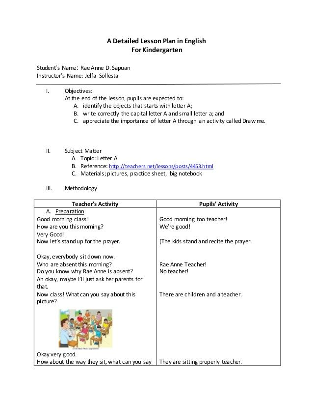 a detailed lesson plan in english for kindergarten student