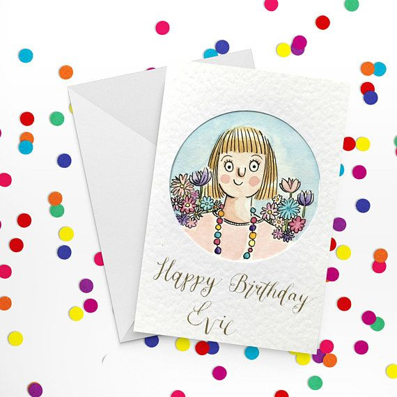 Custom Portrait Card Personalised Birthday Card Illustrated Love