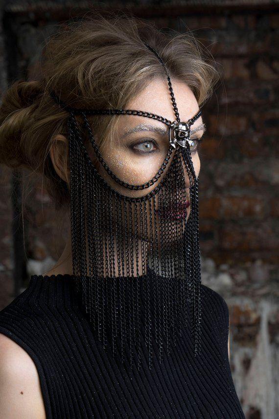 FACE CHAIN MASK Black Head chain Burning man mask Face veil Chain veil  Headchain Facechain Face jewe