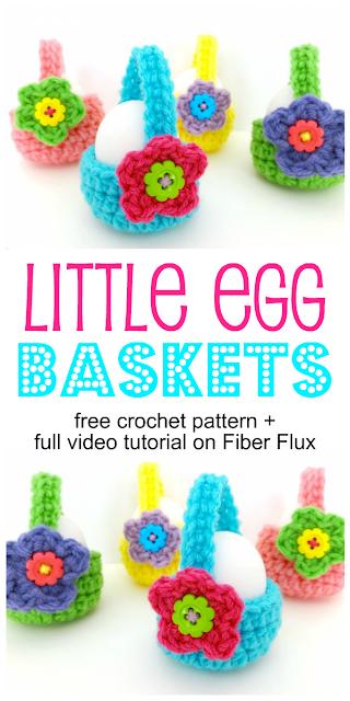 Little Egg Baskets, Free Crochet Pattern + Video