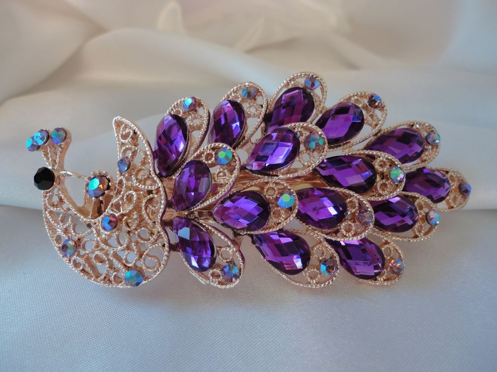 Peacock design Hair Barrette  Crafted with Rhinestones  and Diamond Accent