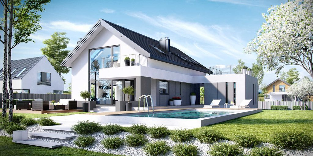 Amazing Luxury Home Design In White Friendly Color Is For Medium Family  Residence With Beautiful Green Nature Surrounding Of Lawns.