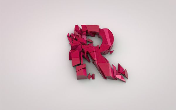 Alphabet letter R. Abstract digital wireframe, low poly mesh ...   375x600