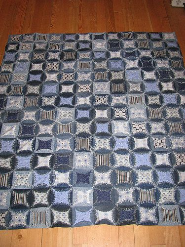Denim Cathedral Windows | Cathedral windows, Rag quilt and Machine ... : cathedral window rag quilt - Adamdwight.com